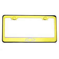 Gold Chrome License Plate Frame T304 Stainless Steel Laser Engraved Chevy Logo