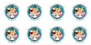 24 x 4cm Personalised Stickers Round Birthday Alice In Wonderland Party Labels