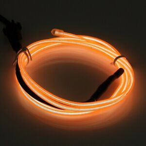 2M Orange Neon LED Light Glow EL Wire String Strip Rope Tube Decor + Controller