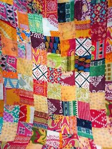 Indian Handmade Quilt Vintage Kantha Bedspread Throw Cotton Queen Indian Gudari