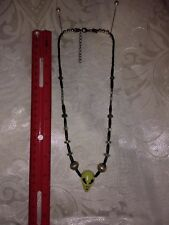 OOAK Alien head necklace with UFO shaped beads, crab claw closure.