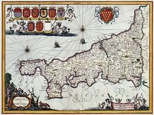 Vintage Old Map of Cornwall England 15x12 Inch Reprint