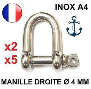 Manille droite forgée libre Dia. 4 MM - INOX A4 - ACCASTILLAGE