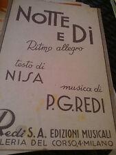 SPARTITO MUSICALE MUSIC SHEET NOTTE E DI NISA REDI ORCHESTRA SEGURINI 1943