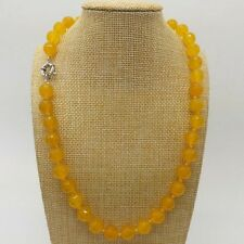 Natural 10mm Yellow Topaz Gems Faceted Round Bead Necklace 20'' AAA