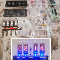 DIY KIT with Used Tubes Nixie Clock 4x IN-14+IN3 RGB Backlight Alarm *All parts*