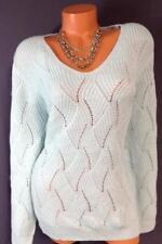 Dressbarn light blue see through open crochet soft plus size sweater top 3X