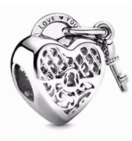925 100% Solid Sterling Silver Charm EURO Bracelet Padlock Key Pandora's Bliss