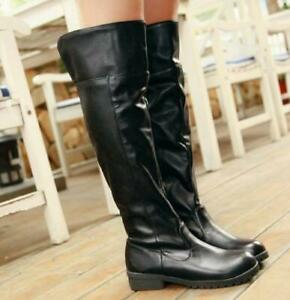 Womens Mens Cosplay Casual Boots Low Chunky Heel Knee High Stretch knight Boots