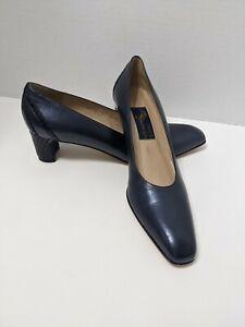 Handcrafted Joel Parker Italian Leather Classic Shoe Pump 2073 Sz 9.5 AAAA Navy