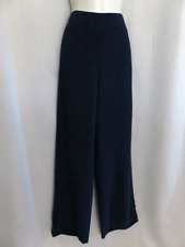 AKRIS Pants 100% Silk Crepe Dark Blue Side Zip Size 8