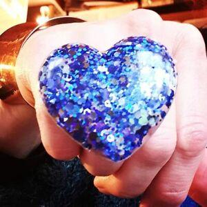 Unique SAPPHIRE & STEEL HEART RING adjustable BLUE huge STATEMENT glitter COOL!