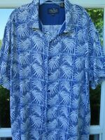 Nat Nast Luxury Originals Men Silk Blue Palms Checks Hawaiian Camp Shirt XXL 2XL