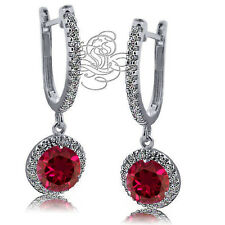 2.89CT WOMENS UNIQUE HALO DROP GENUINE RUBY LEVERBACK EARRINGS 925 SILVER