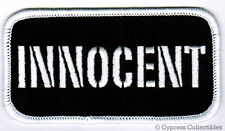 INNOCENT EMBROIDERED IRON-ON PATCH new NAMETAG EMBLEM