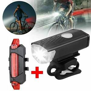 Rechargeable Cycling Light Bike Bicycle Waterproof LED Front + Rear Lamp Set