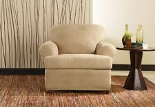 Ultimate Stretch leather 2 piece T-chair Slipcover sure fit camel
