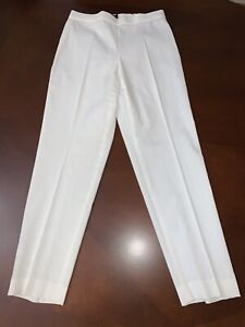 THEORY ~ TREECA WHITE  STRETCH LINEN ANKLE PANTS   ~ SIZE 6