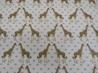 Longleat Giraffe Cotton Fabric Curtain Upholstery Craft Quilting Linen Look