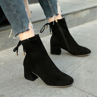 Women Casual Solid Zip Pointed Toe Ankle Boots Block Mid Heels Fashion Shoes Sz