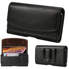 Black Pu Leather Mobile Phone Belt Loop Clip Pouch Horizontal Holster Case Cover