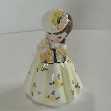 Vintage Japan Ceramic girl with yellow Flowers Hat and Dress