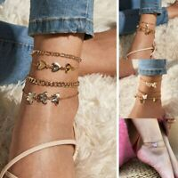 Trendy Butterfly Angel Anklet Multilayer Ankle Bracelet Summer Beach Jewelry New