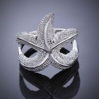 Pretty Wedding Silver Plated Hollow Girls Women Ring Starfish Gift Jewelry