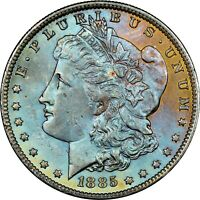 1885-O USA MORGAN SILVER DOLLAR NGC MS64 COLOR GEM TONED UNC BU CHOICE #19 (DR)