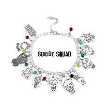 DC Comics Suicide Squad Harley Quinn Silvertone Metal Charm Bracelet 12 Charms