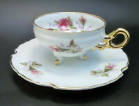 Pedestal Demitasse Tea Cup Saucer Pink Roses Bone China Mossy Rose