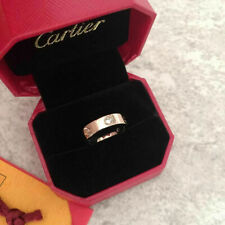 Cartier Love Ring 18k Rose gold 3 Diamonds Wedding Bands Vip gift Size 7