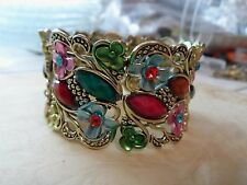 Vintage Gold  Multi Color Enamel & Rhinestone Flower Wide Cuff Bracelet 42.8 Gr.