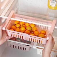 Stretchable Fridge Freezer Kitchen Storage Rack Holder Small Item Container PP
