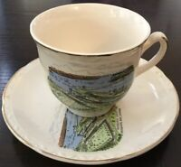 Vintage Gold Gilded Royal Falcon Ware IROQUOIS LOCK ONT~Scenery~Cup & Saucer Set