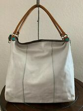 GABS Firenze Studio Ivory Leather Canvas Convertible Tote Shoulder Bag Purse