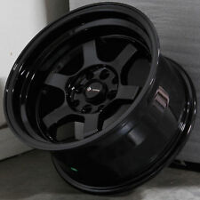 15x8 Vors TR7 4x100/4x114.3 +0 Gloss Black Wheels Rims Set(4)