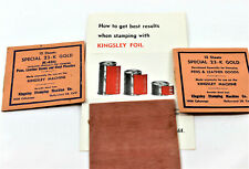 Lot 30 Kingsley Hot Foil Stamping Machine Sheets of Special 23-K Gold & brochure