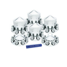 Set Chrome Semi Truck Front & Rear Axle Covers w/ Pointed Hubcaps 33mm Lug Nuts