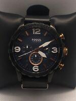 Fossil JR1494 Men's Leather Analog Blue Dial Quartz Genuine Wrist Watch GLJ07