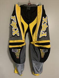 Fox Racing 360 Pants Motocross Adult Size 32 padded Black/yellow/gray motorbike