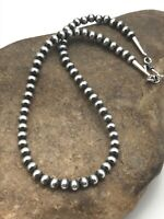 """Childrens Native American Navajo Pearls 5 mm Sterling Silver Bead Necklace 12"""""""