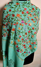 AARI EMBROIDERED SHAWL ~ 100% CASHMERE ~ GREEN PASHMINA STOLE~ 10 DESIGNS CHOICE