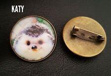 Vintage Hedgehog Round Small Animal Brooch Pins Glass Cabochon Spiritual Pin