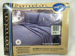 NOS Vintage Thomaston Country Gingham 3 Piece Sheet Set Twin Polyester/cotton