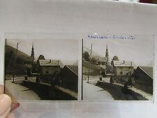 ancien plaque verre stereo photo 1930 73 hauteluce hotel du mont blanc animé  49