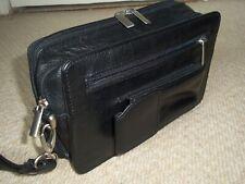 Fabulous Vintage WILSONS LEATHER Unisex Black Leather Wrist Bag/Organiser