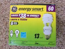 GENERAL ELECTRIC BOX OF 6 CFL SPIRAL 13 WATT LIGHT BULBS - 60 WATT EQUIVALENT