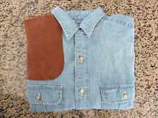 NEW RALPH LAUREN POLO Western Suede Shoulder Patch Demin Shirt Small Size