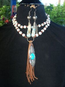 Southwestern Pearl Turquoise Sterling Native Feather Pendant Necklace & Earrings